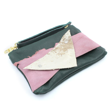 Abstract Mini Green Leather Clutch Wristlet