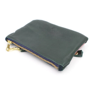 Abstract Mini Green Leather Clutch Wristlet - N.Kluger Designs clutch