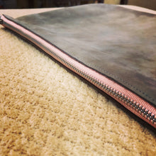 Greyish-Pinkish Distressed Large Leather Clutch / iPad Case - N.Kluger Designs clutch
