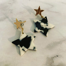 Black , White & Gold Acrylic Stars Dangling Earrings