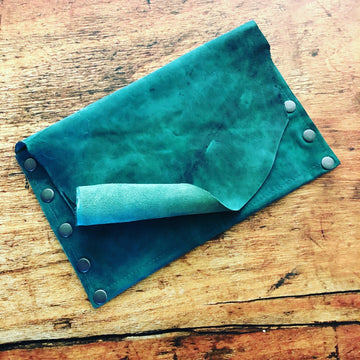 Green with Envy Distressed Leather Clutch