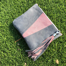 Grey & Pink Colorblock Leather Fun Clutch - N.Kluger Designs clutch