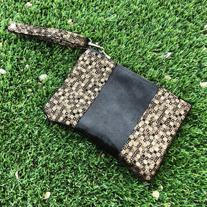 Shimmery Black & Gold Leather Evening Clutch/Wristlet - N.Kluger Designs clutch