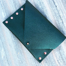2nd Edition Shimmering Green/Blue Leather Clutch with Rose Gold Rivets - N.Kluger Designs clutch