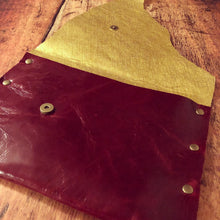 The Ultimate Red & Gold Leather Cocktail Party Clutch - N.Kluger Designs clutch