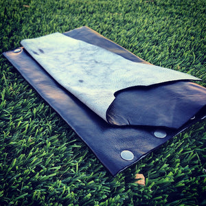 Black Genuine Leather Clutch with B+W Leather Interior - N.Kluger Designs clutch