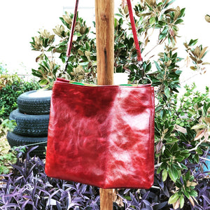 Rainbow-Lined Red Leather Shoulder/Cross-Body Bag - N.Kluger Designs totebag