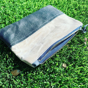 Waxed Canvas and Grey Leather Cosmetic/Toiletry Bag