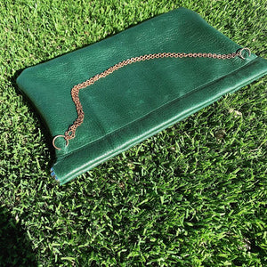 Green Leather Snap Frame Chain Clutch - N.Kluger Designs clutch