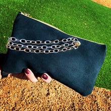 Navy Leather Chain Clutch