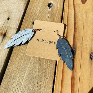 Distressed Grey Leather Feather Drop Earrings - N.Kluger Designs Earrings