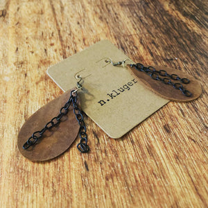 Rustic Brown Leather Drop Earrings with Black Chain