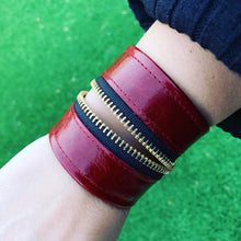 "Red Leather ""Zither"" Zip Bracelet"