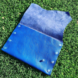 Royal Blue Distressed Pebble Leather Clutch