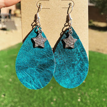 Distressed Teal Leather Drop Star Earrings with Red Glitter Backside - N.Kluger Designs Earrings