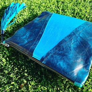 Metallic Aqua & Teal Colorblock Leather Clutch - N.Kluger Designs clutch