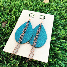 Textured Metallic Teal Leather Drop Earrings with Copper Chain