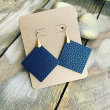 Navy Blue Pebbled Leather Drop Earrings with Teal Backside