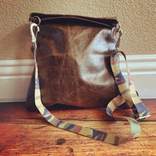 Brown Leather & Camo Shoulder/Cross-Body Bag