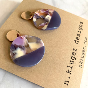 Purple Acrylic Wavy Circles Drop Earrings