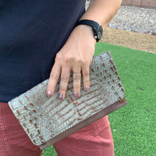 Antiqued Handmade Textured Two-Tone Leather Clutch