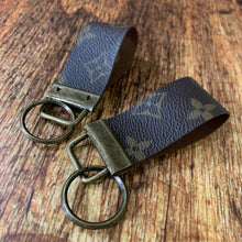 Repurposed Louis Vuitton Leather Key Chain Wide
