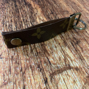 Repurposed Louis Vuitton Leather & Antique Gold Key Chain