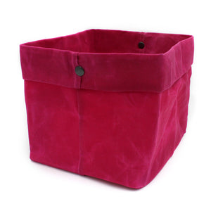 Waxed Canvas Large Basket in Cerise Pink