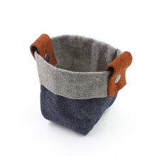 "Waxed Denim Mezzo ""Kiki Pot"" Planter Basket"