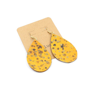 Hand-Painted Glittery Leather Drop Earrings - N.Kluger Designs Earrings