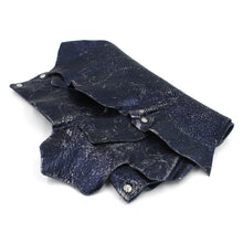 Midnight Blue & Silver Foil Leather Layered Clutch