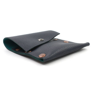 Navy & Turquoise Leather Business Card Case - N.Kluger Designs Card Case