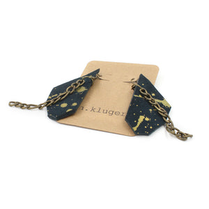Abstract Navy & Gold Splatter Leather Dangle Earrings - N.Kluger Designs Earrings