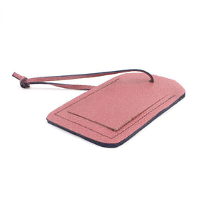 Shimmery Pink Leather Ready-To-Go Luggage Tag - N.Kluger Designs luggage tag