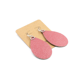 Pink Metallic Leather Drop Love Earrings with Mauve Backside