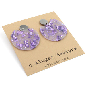 Purple Confetti Circle Cutout Acrylic Drop Earrings