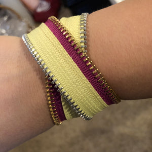 Summer Brights Collection Yellow & Electric Purple Zip Bracelet - N.Kluger Designs bracelet