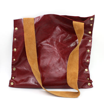 Striking Asymmetrical Red Genuine Leather Totebag/Shoulder Bag