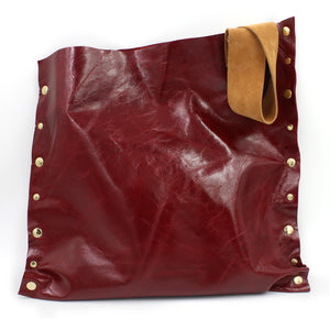 Striking Asymmetrical Red Genuine Leather Totebag/Shoulder Bag - N.Kluger Designs totebag