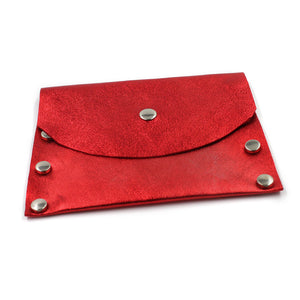 Shimmering Red Leather Card Case / Mini Wallet