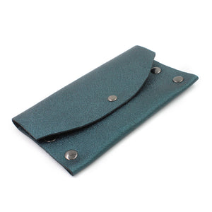 Shimmery Blue/Green Leather Card Case/Wallet - N.Kluger Designs Card Case