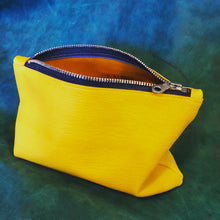 Sunny Day Yellow Leather Clutch/Cosmetic Pouch - N.Kluger Designs clutch