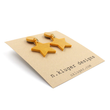 Shimmering Matte Gold Star Resin Drop Earrings