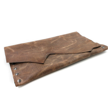 Distressed Genuine Brown Leather Clutch