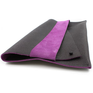 Eggplant and Pink Genuine Italian Leather Clutch - N.Kluger Designs clutch