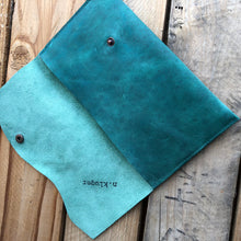 Distressed Green Leather Simple Wallet - N.Kluger Designs Card Case
