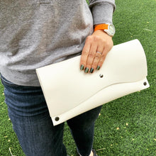 Handmade Snow White Pebbled Leather Clutch