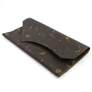 Brown Leather Snap Clutch - N.Kluger Designs clutch