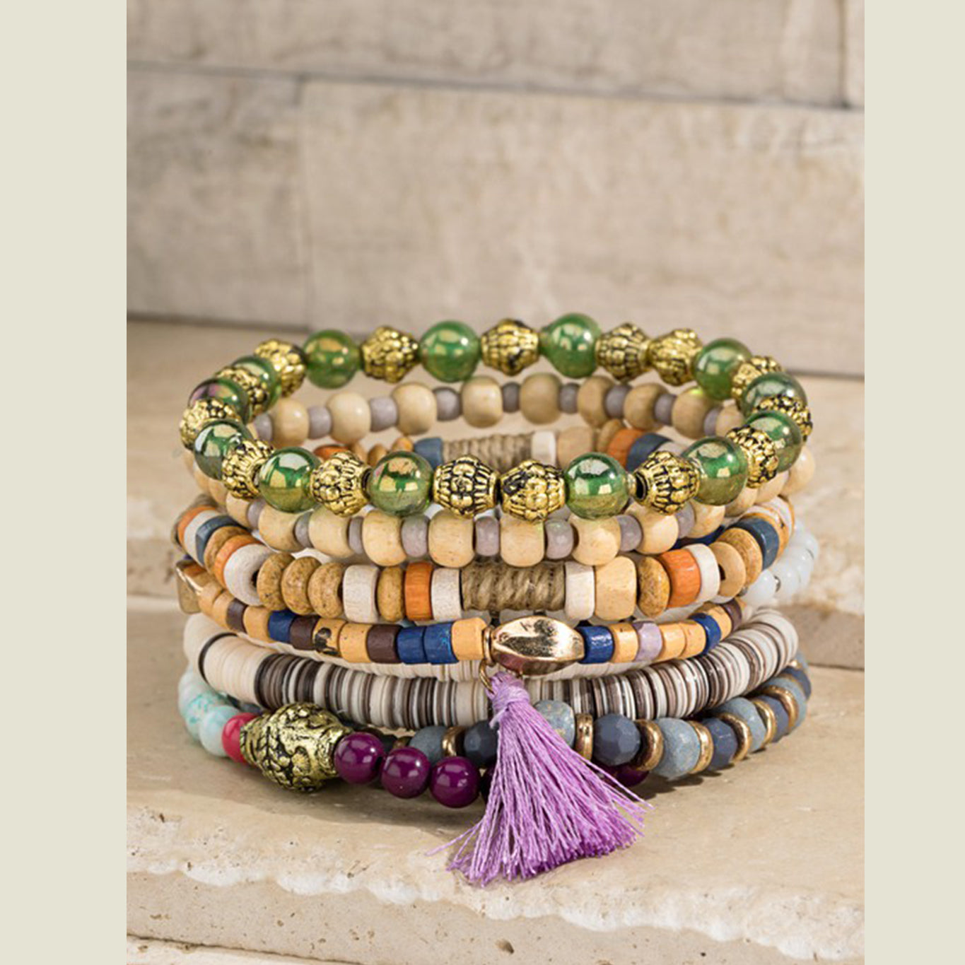 Glass & Wood Bead Stack - Blackbird General Store