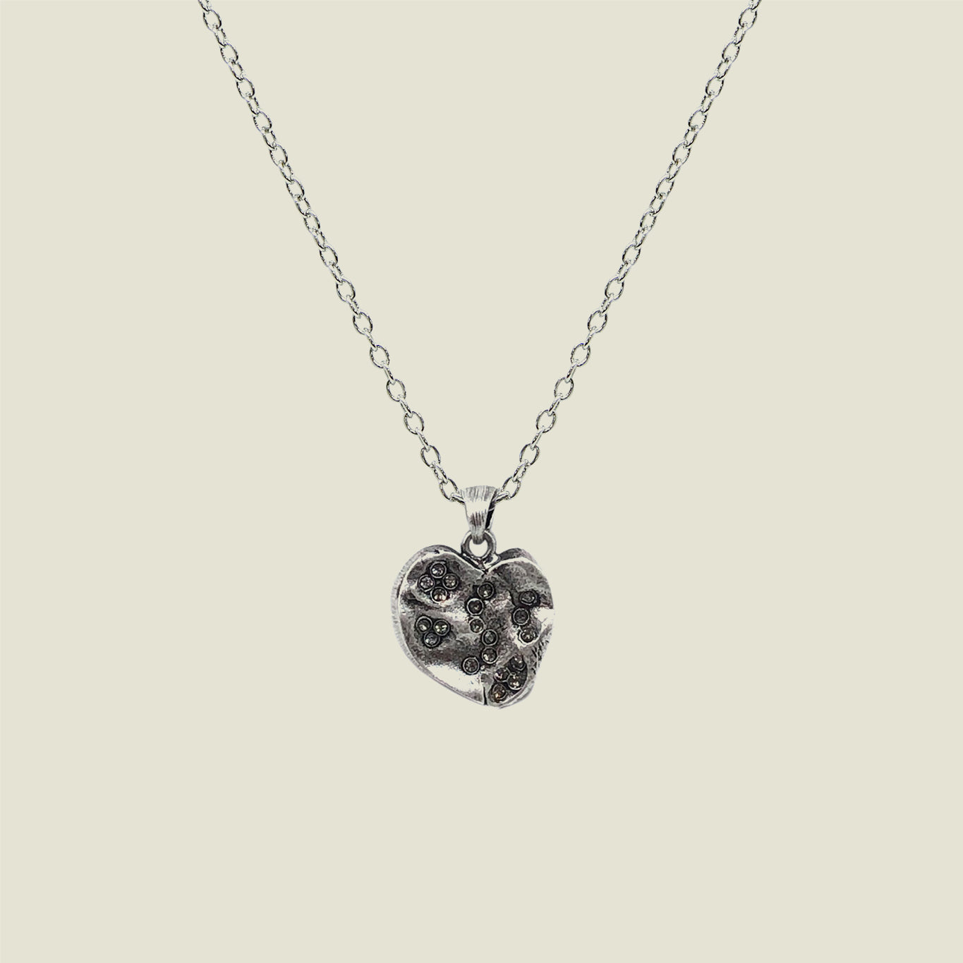Silver Impression Heart Necklace - Medium - Blackbird General Store